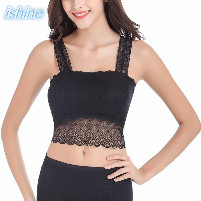 2cfc3b982 Cheap Sexy Lace Wrapped Chest Tube Tops Black White Women Lace Camisole  Crop Tank For