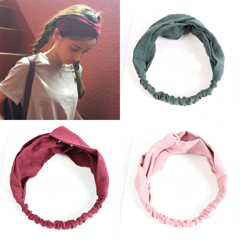 Summer Women Hair Bands Headbands Retro Cross Turban Bandage Bandana   Headwear   Hair Accessories Headwrap Girls Solid Color