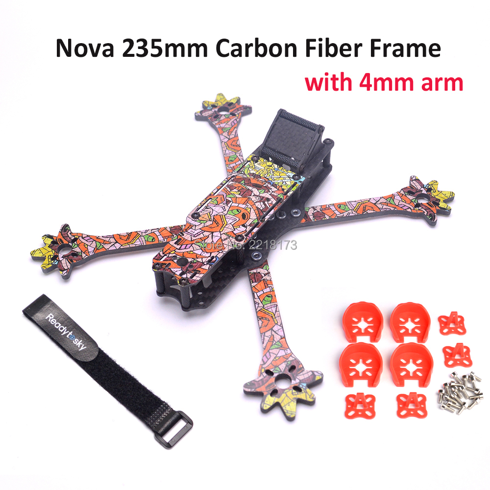 Nova Freestyle 235 235mm True-X frame 3k Full Carbon Fiber with 4mm arms + Red motor Cover for Quadcopter FPV Racing Drone