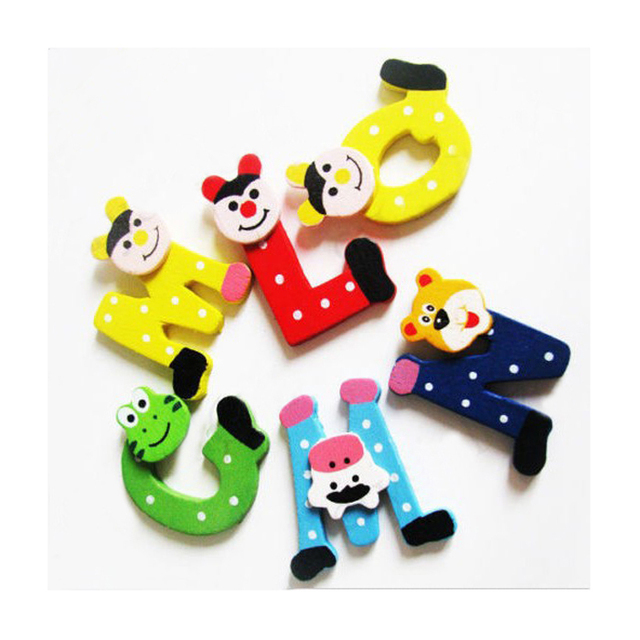 Cute Wooden Cartoon Alphabet Magnets (26 Pieces)