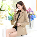 woman spring coat England Double-breasted slim trench coats for womens star style dress female british style