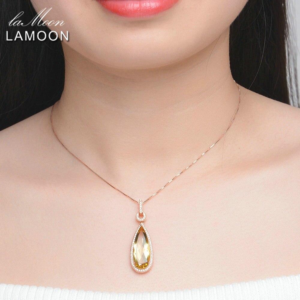 LAMOON Luxe 925-Sterling-Argent 4 pièces Ensembles De Bijoux Naturel Gros Citrine S925 Fine Bijoux pour Femmes Cadeau De Mariage V047-1 - 2