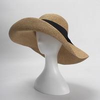 3pcs Designer Pocketable Wide Brim Straw Hats NEW Women Summer Big Beach Straw Hat Ladies Foldable Nature Sun Caps Wholesale