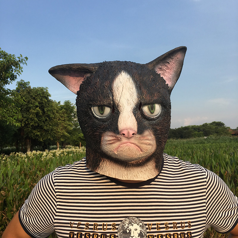 Funny Angry Cat Halloween Cosplay Animal Masks Full Face Mask Latex Horror Masquerade Party Cat Costume Adult MaskBoys Costume Accessories   -