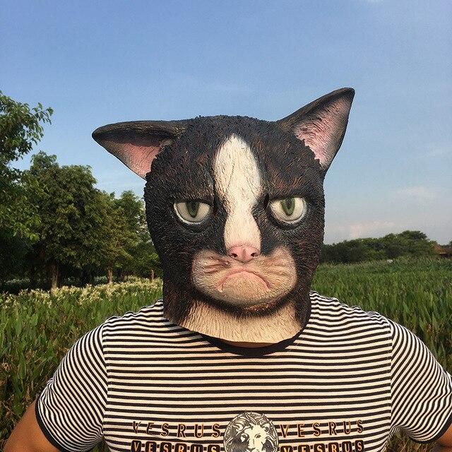 Mascarilla de látex con cara completa para adultos, máscara divertida de gato loco para Halloween, disfraz de gato para fiesta de miedo