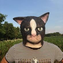 Masques faciaux complets avec chats en colère Halloween, Cosplay, en Latex, déguisement pour adultes