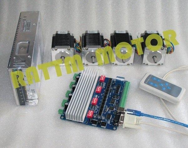 Power Kit! New 4 aixs USBCNC NEMA23 270 oz-in/3.0A (Dual shaft ) stepper motor CNC kit new products 3 aixs usbcnc nema23 425oz in 112mm 3a dual shaft stepper motor cnc controller kit