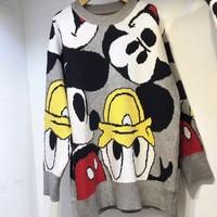 New Autumn winter Black women sweater Korean Cartoon loose sweater pullover fashion girl clothes tops