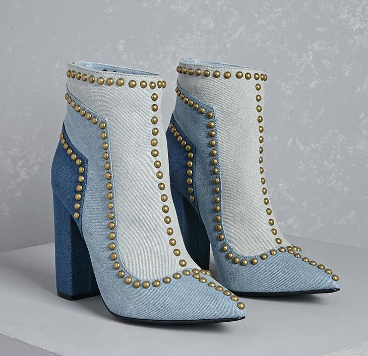 2017 New Fashion Light Blue Denim Women Pointed Toe Ankle Boots Golden Studs Line Ladies Sexy Chunky Heel Boots Zipper Back Boot glitter silver stars patchwork women sexy transparent pvc boots fashion peep toe ladies square heel ankle boots zipper back boot