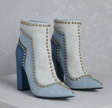 2017 New Fashion Light Blue Denim Women Pointed Toe Ankle Boots Golden Studs Line Ladies Sexy Chunky Heel Boots Zipper Back Boot