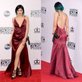 Sexy Floor Length Side Slit Backless Burgundy Taffeta kylie Jenner Celebrity Dress