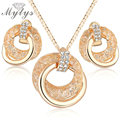 Mytys Hot sale Fashion Cubic Zirconia Pendant Chain Necklace and Earrings wire mesh  Jewelry Sets Gift N960