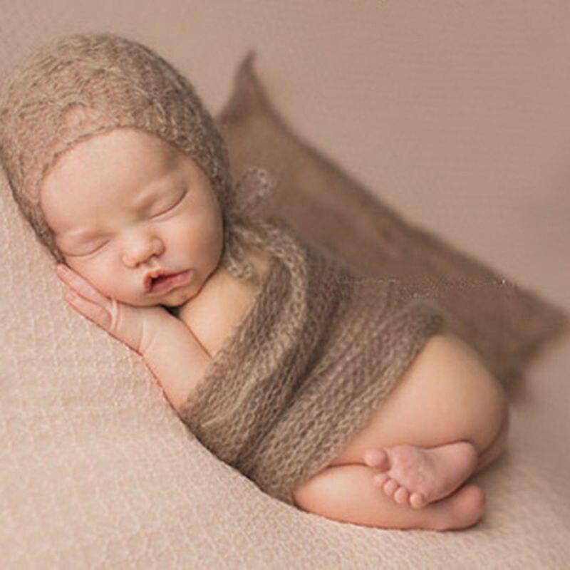 Лидер продаж! 40x60 см мохер Обёрточная бумага Рождество Подставки для фотографий мягкие новорожденных вязаные крючком Дети с капюшоном шарф для фотосессии Fotografia