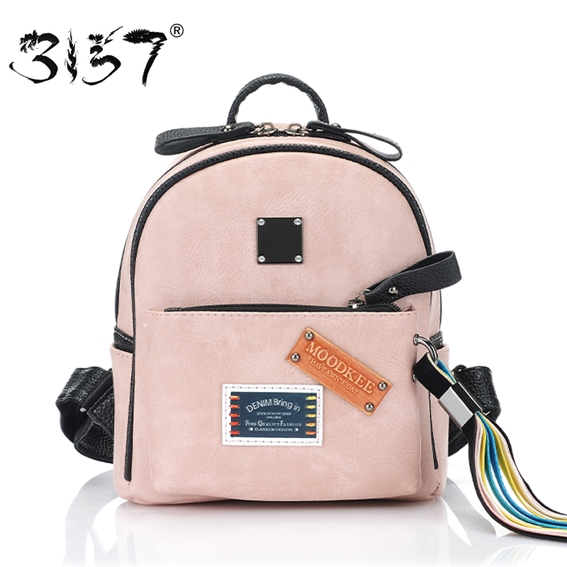 fashion tassel ribbon women bakcpack small school bag for girls appliques patchwork mini leather backpack 3157