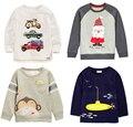 Marca nueva 1-6Y Niños T-shirt Kids Tees blusa cardigan jacket suéter de los niños Del Bebé camisas de Manga Larga 100% Algodón león coches