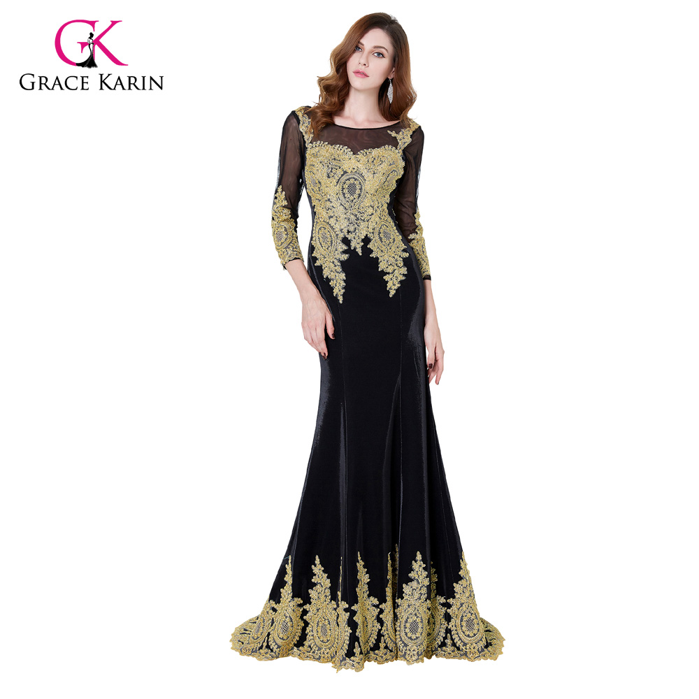 ⃝Long Sleeve Evening Dress Grace Karin Black Lace Gown Golden ...