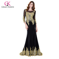 Long Sleeve Evening Dress Grace Karin Black Lace Gown Golden Embroidery See Through Top Prom Party