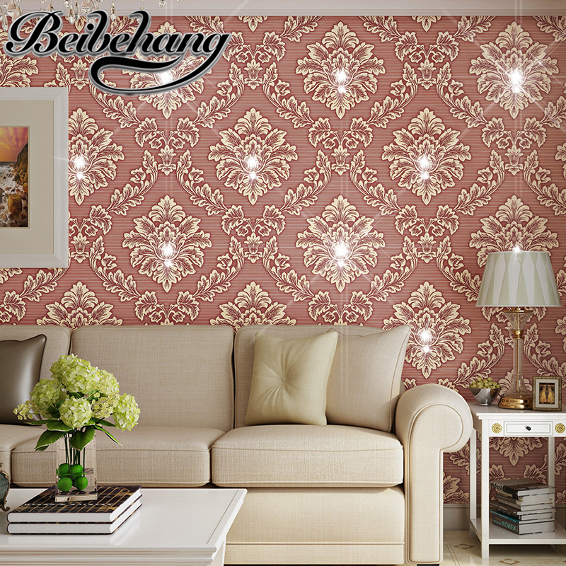 beibehang Luxury diamond wallpapers bedroom TV background wall living room wallpaper European 3D wallpaper papel de parede beibehang papel de parede luxury european damascus flocking non woven wallpapers living room dining room background wallpaper