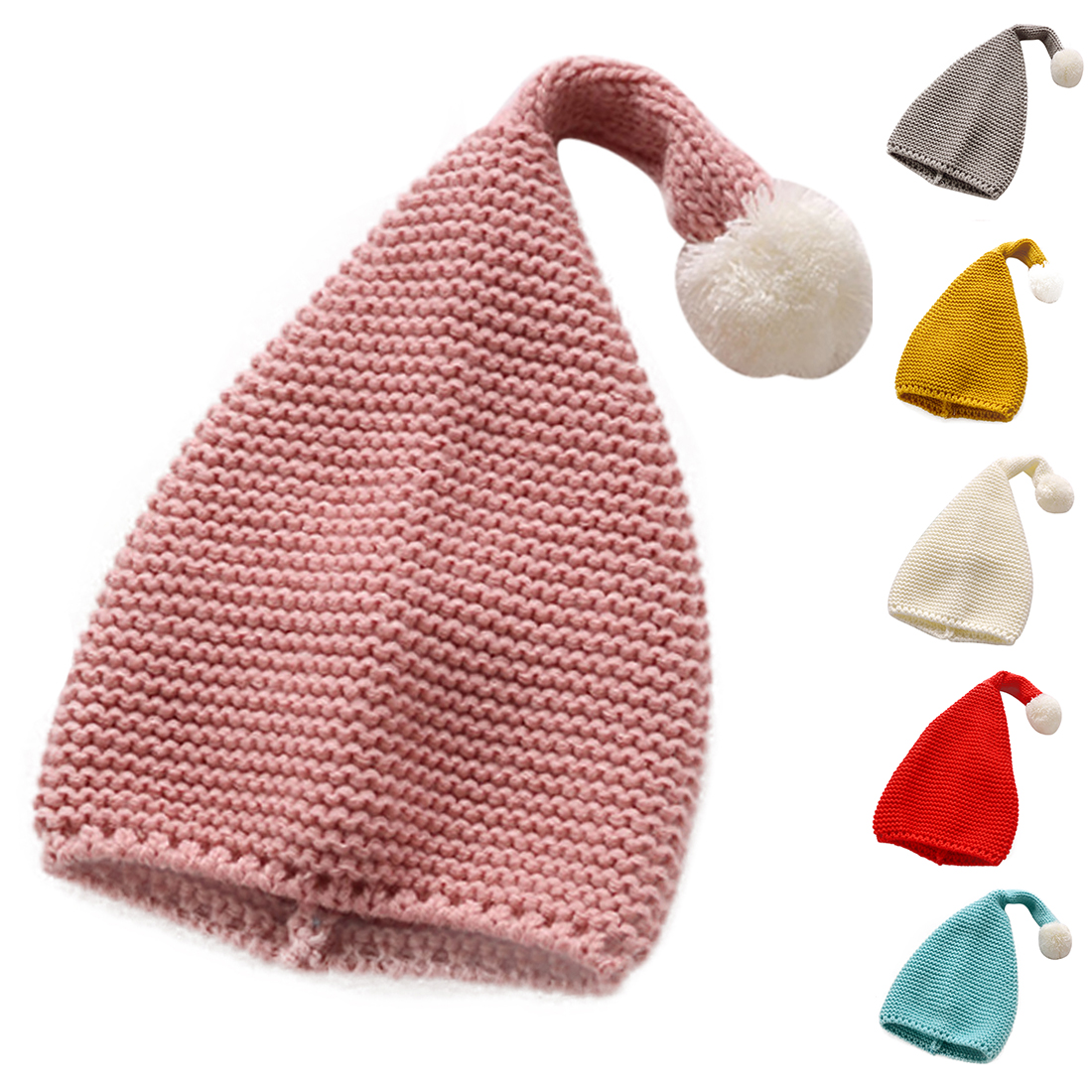 Fashion Children 39 s woolen Christmas hat candy knit big ball cute warm autumn and winter hat solid color elf long tail cap in Men 39 s Skullies amp Beanies from Apparel Accessories