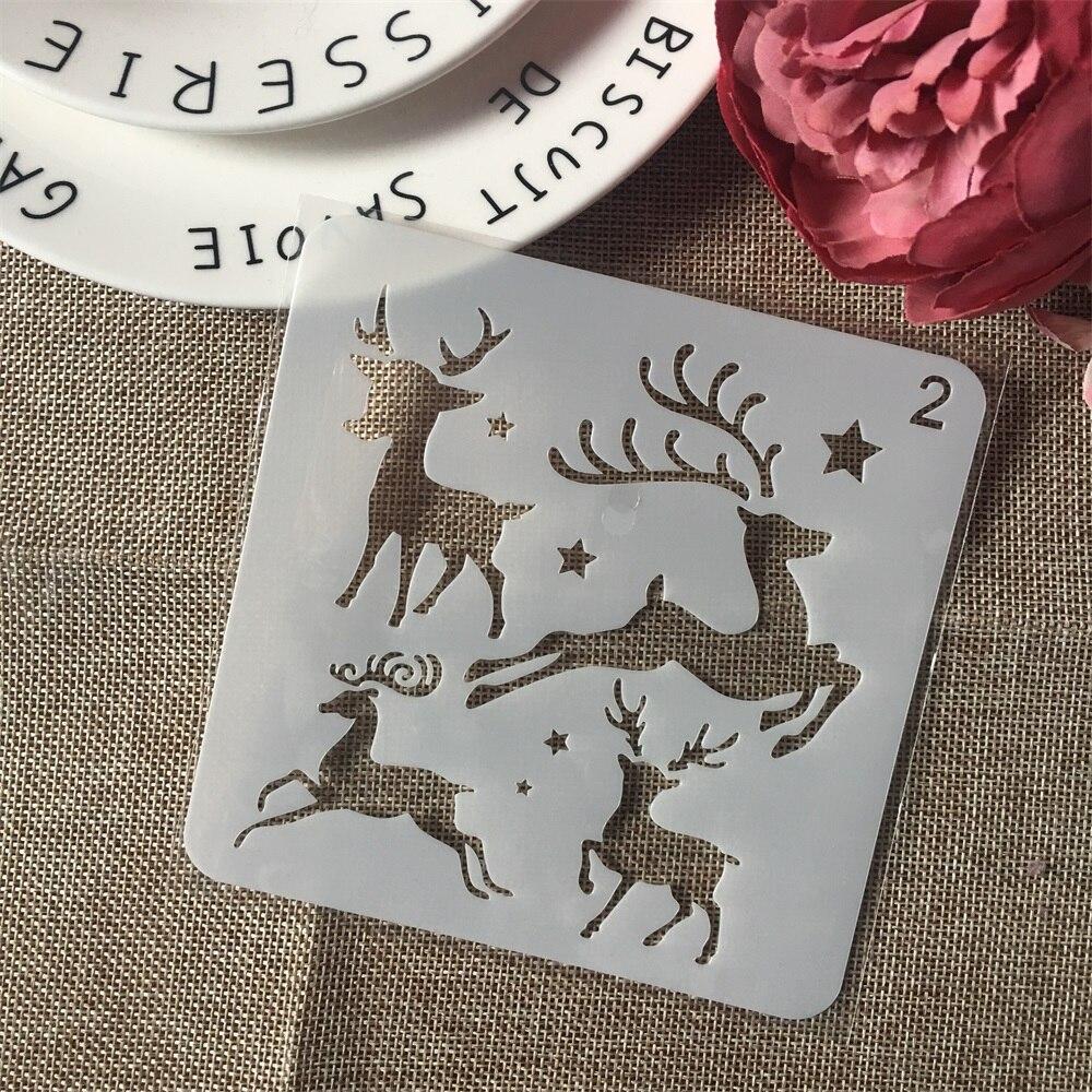 1Pcs 5inch Christmas Deer DIY Layering Stencils Wall Paint Scrapbook Coloring Embossing Album Decorative Paper Card Template