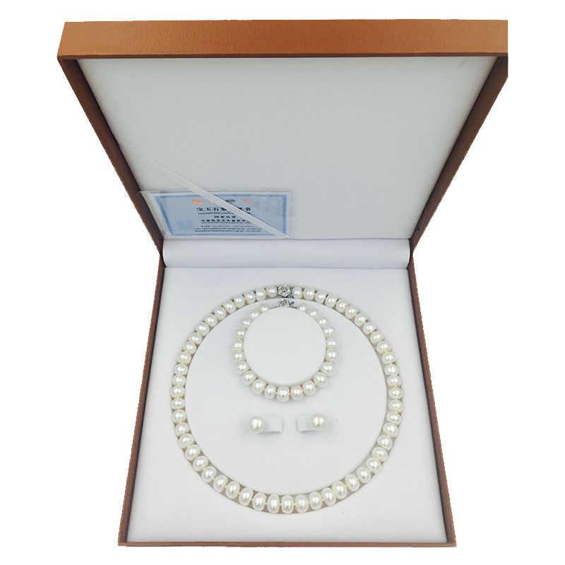 Sinya 天然真珠ストランドネックレスブレスレットイヤリングセットピンク紫、白とオプションのためのパール直径 10-11 ミリメートル母女性