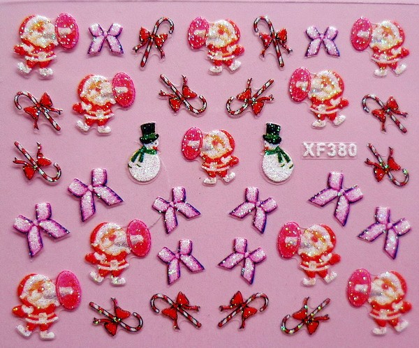 mix order 07 xf380 free shipping 3d design tip nail art christmas tree nail stickers decals carving nail art decorations