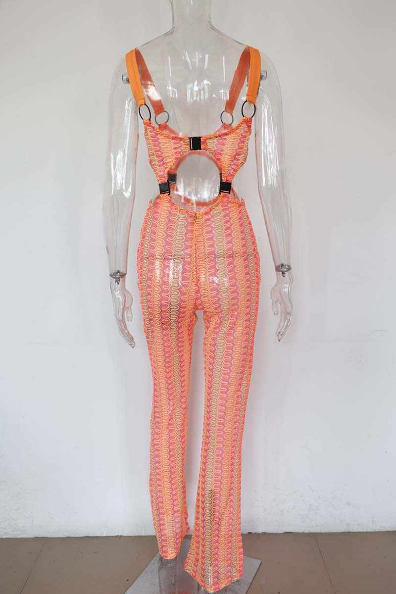 Beyprern сексуальная вырезать пряжки комбинезон Bodycon Комбинезоны для малышек Модные женские неоновый оранжевый пряжки ночь