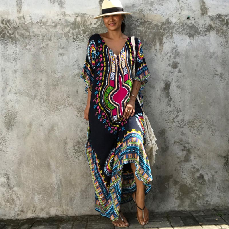 African Kaftan Black Tunic Dresses for Women's Dashiki Dress Summer Ethnic Traditional African Clothing Long Maxi Dress Robe