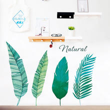 Nordic Style Green Leaves Nature Cabbage Palm Wall Stickers Living Room Bedroom Home Decoration Wall Decals Bar Decor Murals(China)