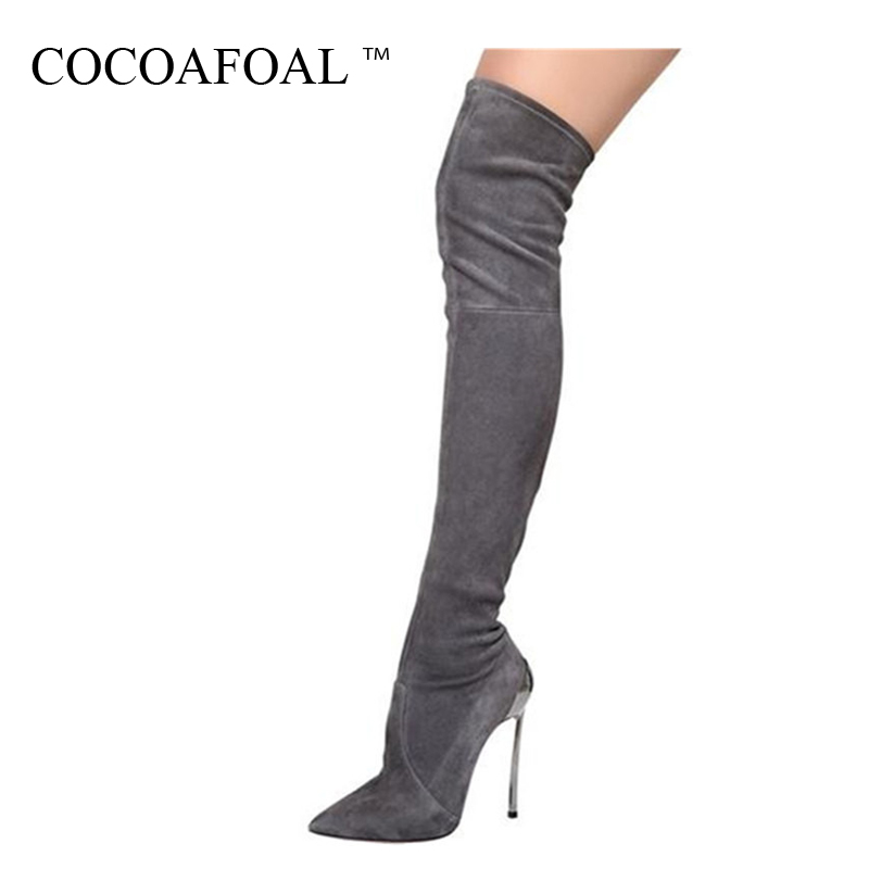 COCOAFOAL Women's Sexy Over The Knee Boots Winter Woman High Heel Shoes Plus Size 33 43 Black Gray Fashion Thigh High Boots 2018 case for oneplus 3t tpu transparent soft shell tree branches pattern