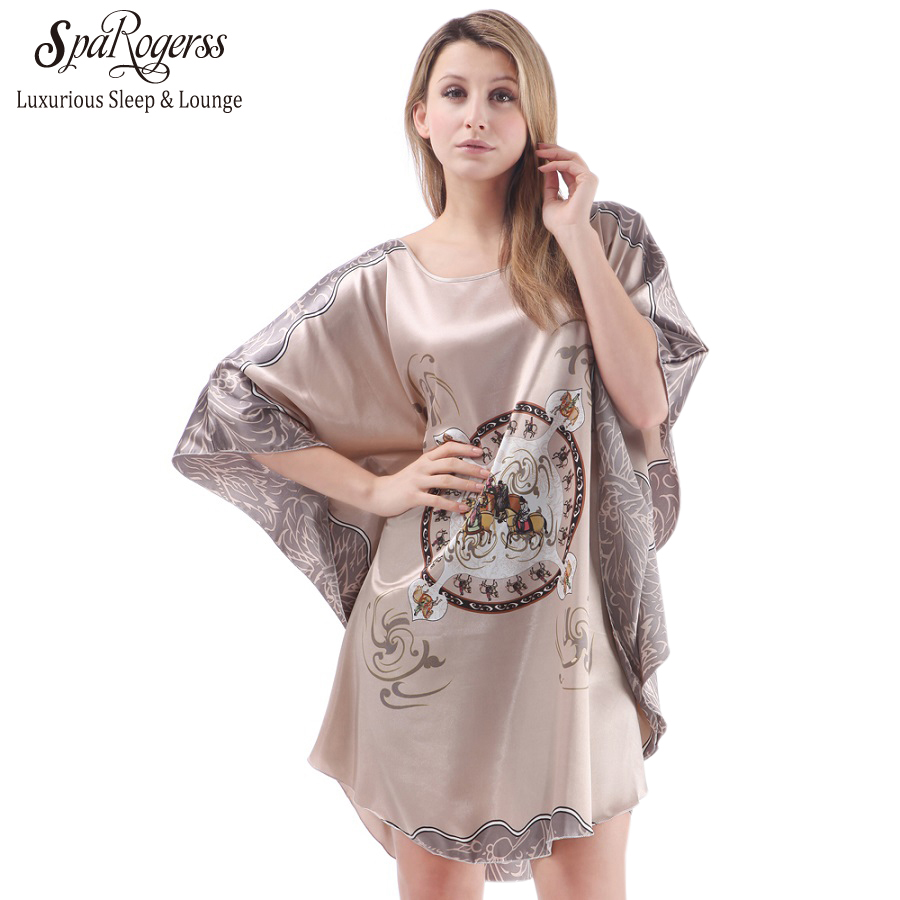 58b295bb32 SpaRogerss Summer Women Nightgown Silky Large Style Sleepwear Plus Size  Indoor Clothing Faux Silk Lady Robe