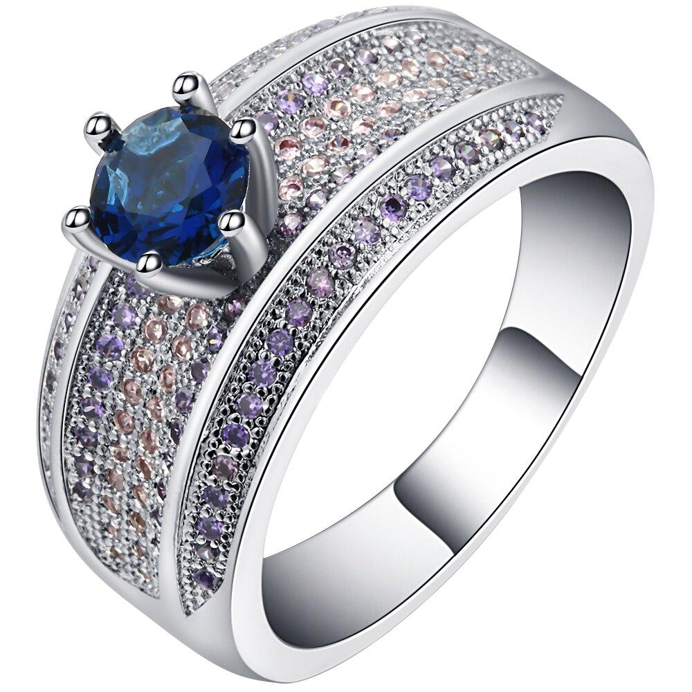 Новые модные женские Обручальные кольца ювелирные изделия из белого золота Цвет Обручение кольцо для Для женщин синий камень CZ проложили о...
