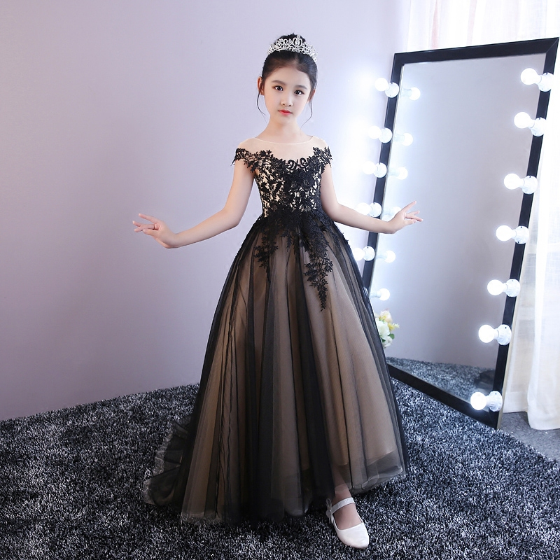 купить Black Flower Girl Dresses Long Trailing Kids Pageant Dress for Birthday Costume Ball Gown Lace Up Princess Dress Party Gowns K66 по цене 4077.81 рублей