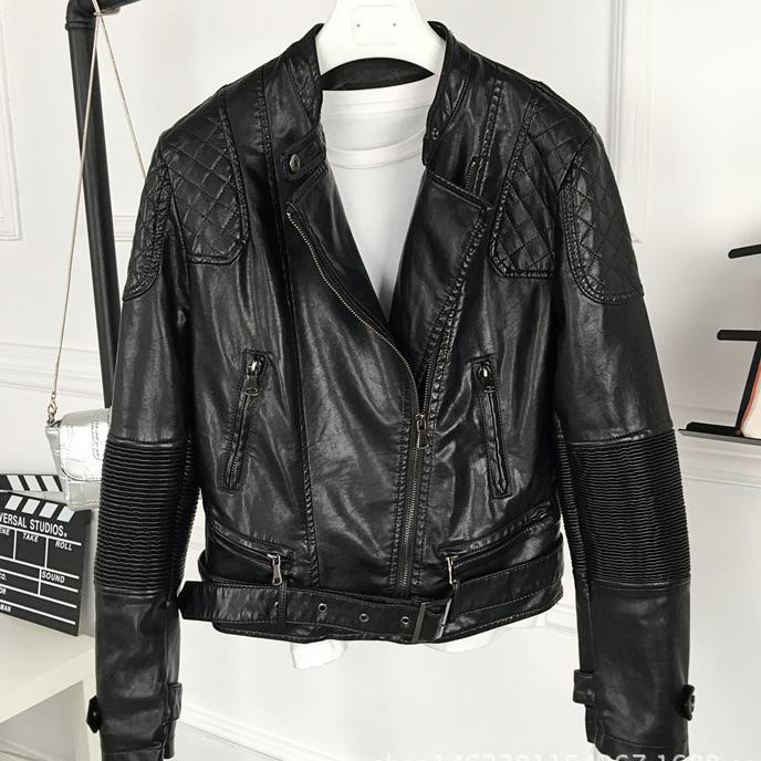 2017 Zippers Coat Motorcycle Outerwear Women Faux Soft   Leather   Long Sleeve Coat Design PU Jacket