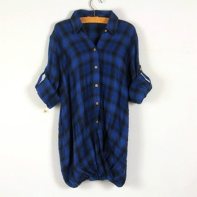 Spring pullover single breasted classic plaid dress length loose t