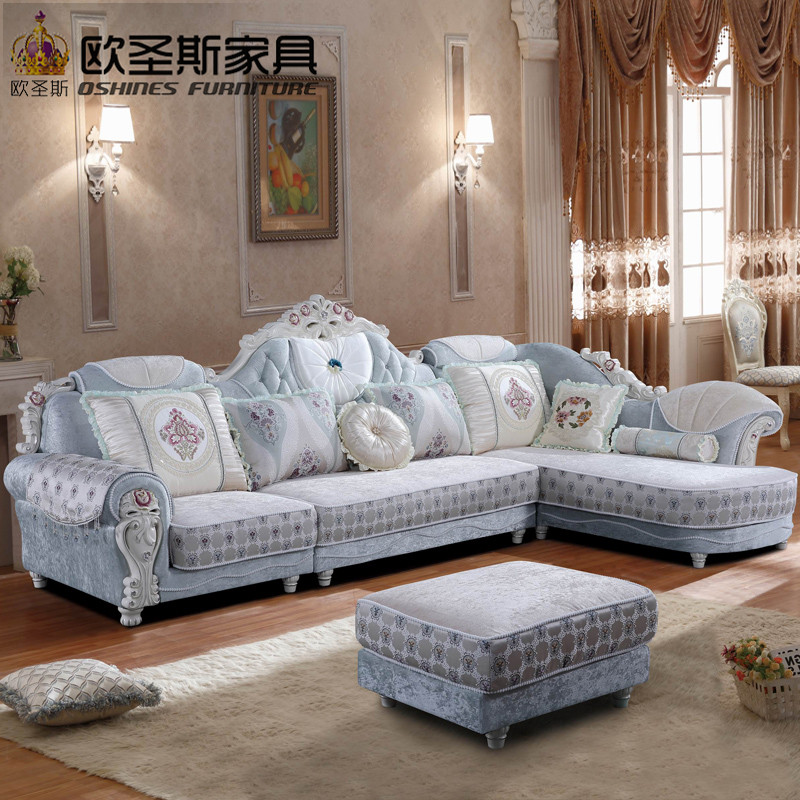 Luxury l shaped sectional living room furniutre Antique Europe design classical corner wooden carving fabric sofa sets 8897 luxury l shaped sectional living room furniutre antique europe design classical corner wooden carving fabric sofa sets 6831