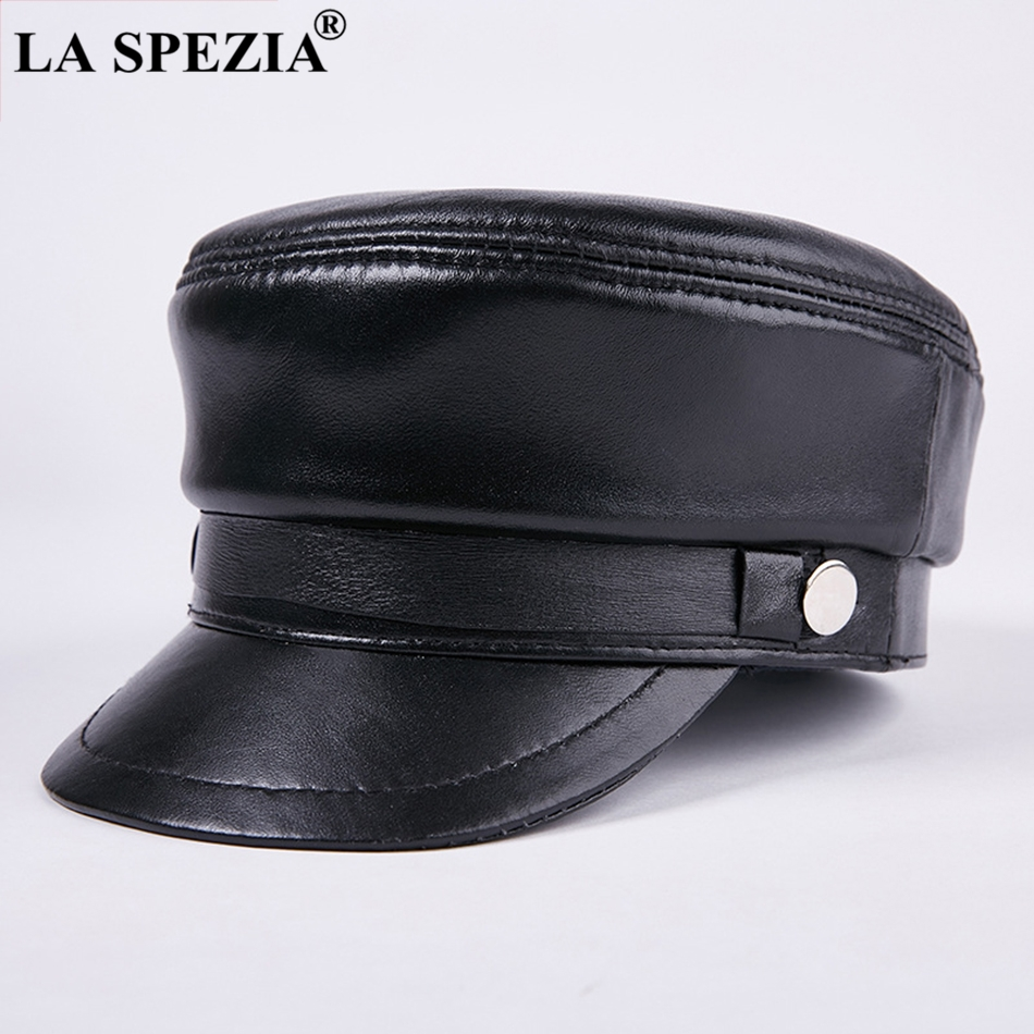 e525746c3bb LA SPEZIA Genuine Leather Military Hats Men Black Casual Army Caps Male  Winter Warm Designer Vintage High Quality Flat Top Hats