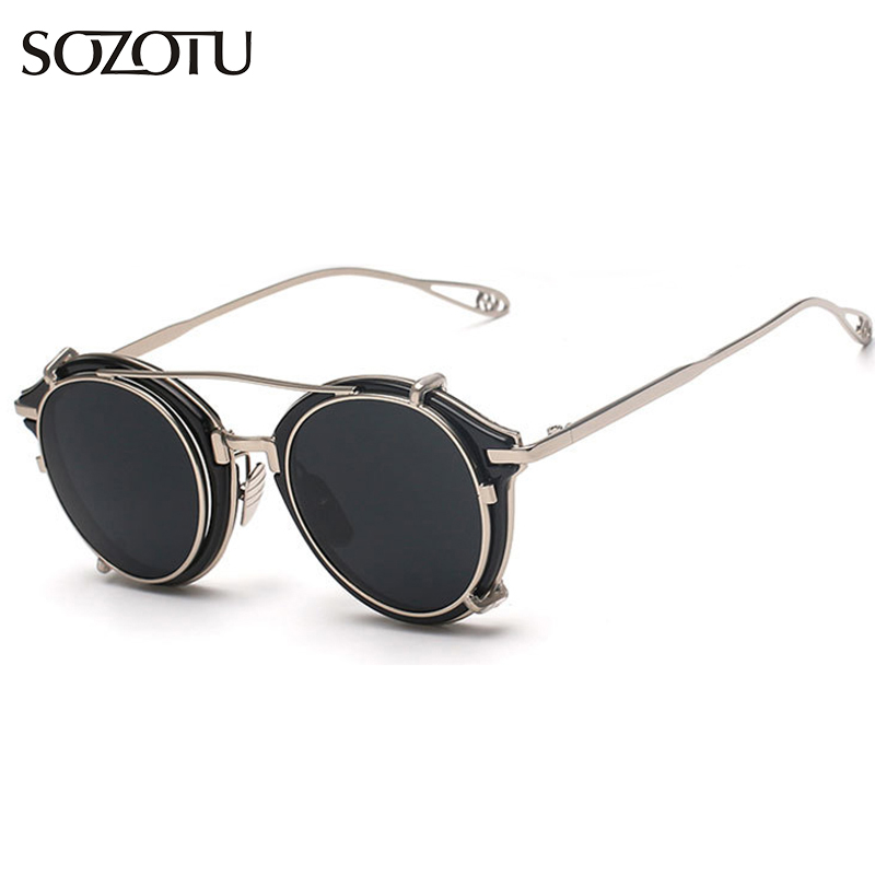 2016 Fashion Steampunk Goggles Round Sunglasses Women Men Vintage Sun Glasses Ladies Brand Designer For Female Male YQ021