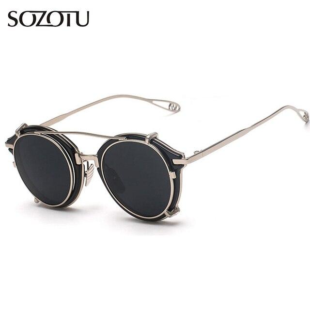 fe504dac15807 Moda Steampunk Óculos Redondos Óculos De Sol Das Mulheres Dos Homens Do  Vintage Óculos de Sol