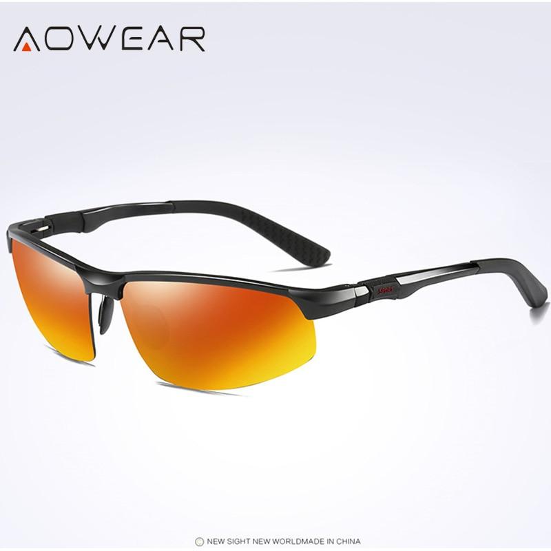 Новое поступление, мужские солнцезащитные очки AOWEAR, поляризационные, спортивные, солнцезащитные очки, мужские, UV400, антибликовые, для улицы, для вождения, зеркальные оттенки, для gafas - Цвет линз: Black Orange