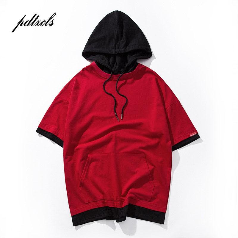 49Hot Color Block Patchwork Pullover Short Sleeve Hoodies  Men 2018 Summer Hip Hop Casual Hooded Streetwear Sweatshirts