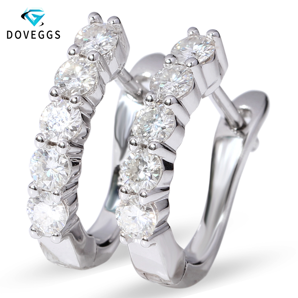 DovEggs Solid 14k 585 White Gold Huggie Earrings for Women Wedding Gift 1CTW 3mm Moissanite U Shape Earrings недорго, оригинальная цена