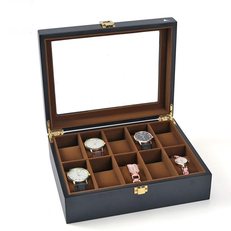 Top qualité 10 grille montre stockage montre organisateur vitrine bois luxe verre montre-bracelet boîte pour titulaire hommes Valentine cadeau
