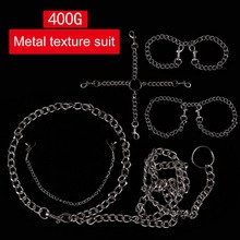 Adults Sexy BDSM Bondage Chian Collar Handcuffs Ankle Stainless Steel Milk clip Fetishs Necklace Erotic Slave Games Sex Toys
