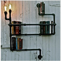 Vintage Nostalgic Industrial Antique Lustre Loft Water Pipe Edison Wall Sconce Lamp Bookshelf Bedroom Modern Home Decor Lighting