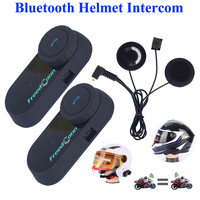 2017 Hot 2PCS Original BT Bluetooth Motorcycle Helmet Intercom Interphone Headset With FM Radio Soft Earphone