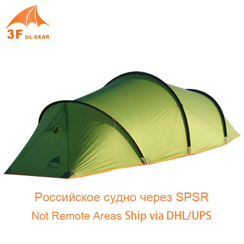 3F UL Gear 2 Room 2 Person 3 4 Season Ultralight Tunnel Tent 15D Silicon Nylon 210T Tarp Large Space Camping Tente 2 Layer Tent 995g camping inner tent ultralight 3 4 person outdoor 20d nylon sides silicon coating rodless pyramid large tent campin 3 season