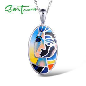 Image 2 - Santuzza Silver Pendants For Women Pendant fit for Necklace 925 Sterling Silver Slide Necklaces Pendant Colorful Enamel Handmade