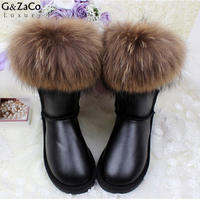 G&Zaco Ultralarge Large Fur 100% Natural Fox Fur Snow Boots Middle Calf Boots Genuine Leather Women Winter Waterproof Shoes