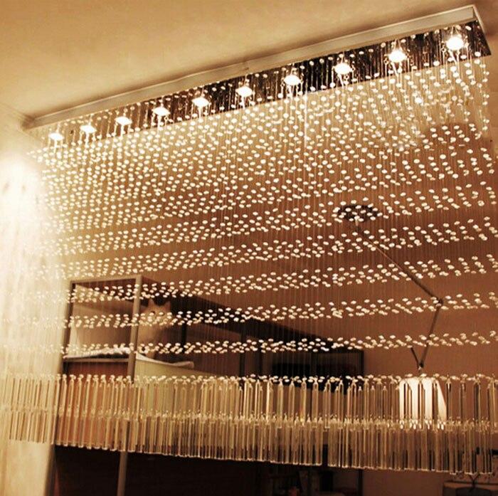 Роскошные барная стойка Crystal Light раздела свет прямоугольные хрустальная люстра Лампы для мотоциклов для декоративных Гостиная Ресторан